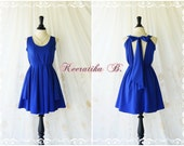 A Party Kate Cocktail Dress Cut Off Back Halter Dress Royal Blue Cocktail Prom Dress Wedding Bridesmaid Dress Party Dress Custom Made
