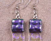 Dichroic Earrings - Violet Purple Lavender Bubbles Reverse Radium Fused Glass Dangle Surgical Steel French Wire or Clip On