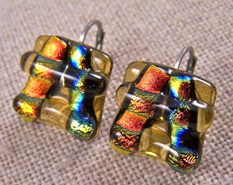 """Dichroic Earrings - Copper Orange Gold Amber Pagoda Eurowire Lever Dangle  - 5/8"""" 16mm - Fused Glass"""