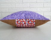 SALE Purple Chevron Pillow Cover with Burlap - Colorful Modern Accent Pillow