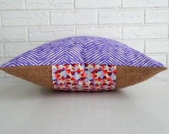 SALE Purple Chevron Pillow Cover with Burlap - Colorful Modern Accent Pillow