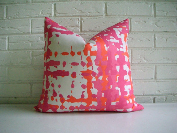 Orange and Pink Modern Pillow Cover by habitationBoheme on Etsy