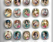 HIGH DOME Faux Ceramic 40x30 or 25x18  Vintage Portraits Resin Cameo cab MARIE Antoinette 5.1-25