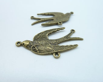10pcs 20x37mm Antique Bronze Lovely Bird Charm Pendant Connector Link c2198