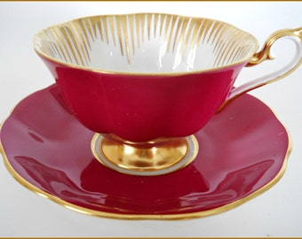 Royal Albert Footed Tea Cup /Saucer Art Deco - Magenta Pink /Gold Hand Painted - June SALE