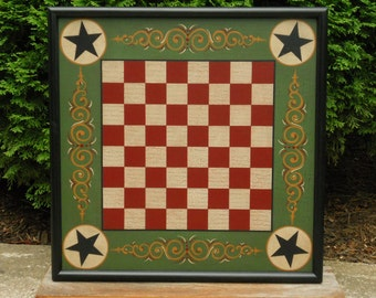 "19"", Checkerboard, Game Board, Wood, Folk Art, Primitive, Wooden, Game Boards, Checkers, Hand Painted"