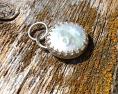Outlander Inspired  Brianna's Bride Pendant Huge 20MM Coin Pearl and Sterling Silver Scottish Crown Bezel   wedding pearls, bridal jewelry,