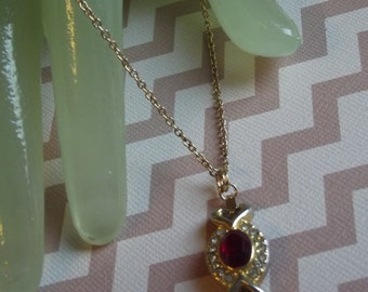 "Vintage 18"" Goldtone Necklace 1"" Pendant Red & Clear Rhinestone Style"