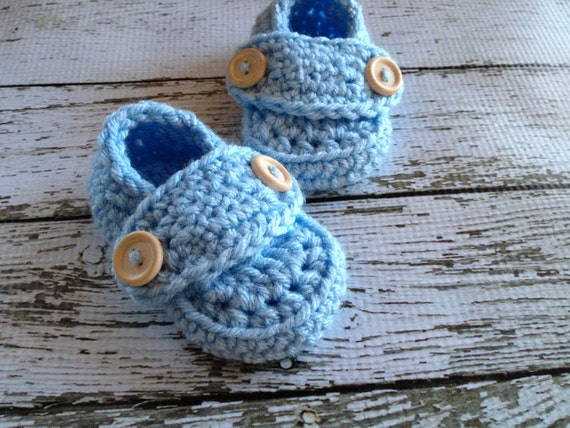 Button Loafers Baby Booties/Soft Shoes/Baby Shoes/ Shoes in Light Blue Available in 0 to 24 Months Size- MADE TO ORDER