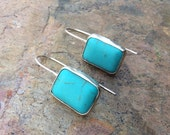 Large Sterling Silver And Natural Turquoise Earrings