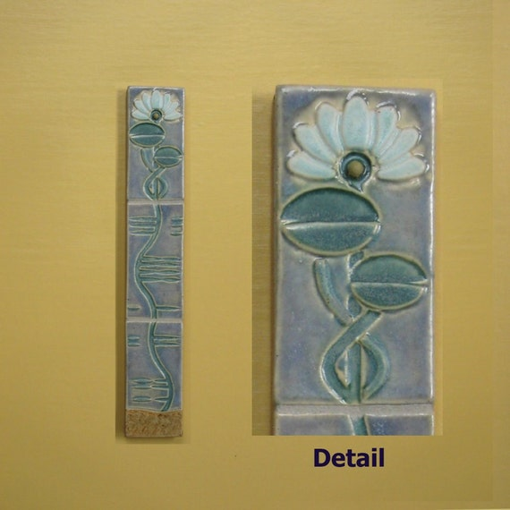 Water lily arts and crafts vertical tile mural by mudpi on for Arts and crafts mural