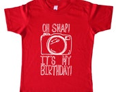 Oh Snap It's My Birthday - Funny Kids Birthday Party Camera Shirt - American Apparel Red Combed Cotton / Poly Boys or Girls Birthday Shirt