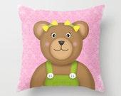 Teddy Bear Pillow. Nursery Pillow, Kids Decorative Pillow, Throw Pillow, Kids Accent Pillow, Teddy Bear Children's decor