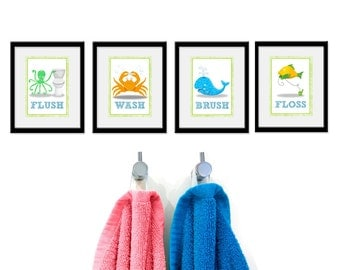 Bathroom Sea theme Kids Art - Set of Four Bathroom Decor Prints -Sea Theme kids decor, children wall art, bathroom art, kids bathroom