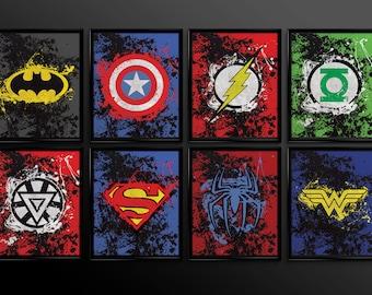 Set of 2 prints Superhero Wall Art Decor Superman Batman ironman spiderman wonder woman Comic Book Superheroes