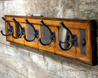Rustic Cabin Coat Rack, Wall Coat Rack, Natural Stone and Mirror, Robe Rack