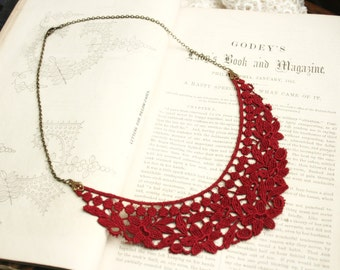 red lace necklace -SYLENE- deep red
