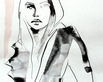 Original fashion illustration-pen and ink original art-fashion portrait-fashion decor