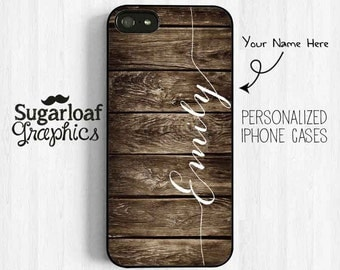 Personalized First Name Rustic Printed Image Wood Pattern iPhone 7 5, iPhone 5s iPhone 5c, iPhone 4s, Samsung Galaxy S3 S4 S5, Note 3 UL08