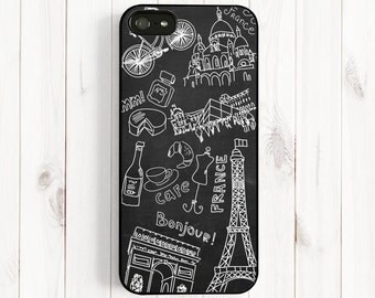 Chalkboard Paris Scenery iPhone 7 6 Case, Samsung Galaxy S5 S4 S3, Note 3 Case, iPhone 6 Plus 5s 5c 5 4s Case, France Travel ch13