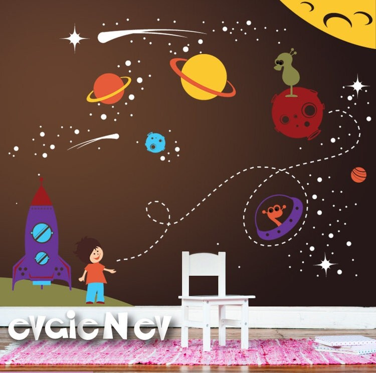 Outer space wall decals boys wall decals space wall by for Outer space design australia