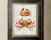 Buy 1 get 1 Free - Crabs(Version 2) - Printed on a Vintage Dictionary, 8X10, dictionary art, paper art, illustration art, collage