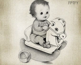 Adorable Vintage baby LARGE Digital Vintage Image Download Sheet Transfer To Totes Pillows Tea Towels T-Shirts 211