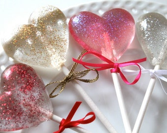 Sparkle Heart Lollipops 8 pieces