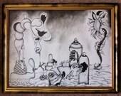 "Original Surreal, Pen and Ink Drawing titled, ""Dreams"""