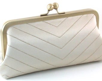 Ivory Evening Bag Clutch - Bridal Wedding Silk Purse - Bagboy