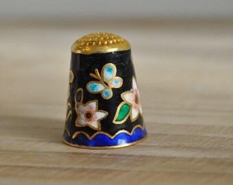 Vintage metal cloisonne thimble - Black, butterfly and floral design - Enamel