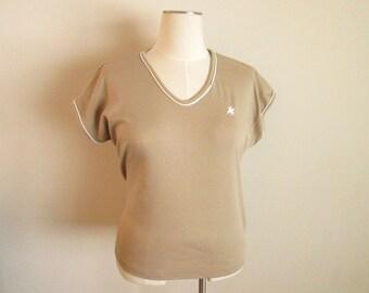 CLEARANCE SALE * Golden Wings Tan Vintage Shirt, size 42 xl xxl, unicorn pegasus scoop neck petite, 54 bust, 48 waist