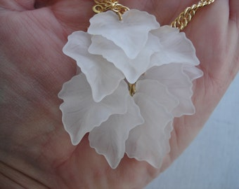 Vintage Frosted White Cascading Leaves Pendant Lalique Inspired Gold Necklace