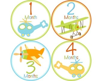 Baby Month Stickers, Monthly Baby Stickers, Monthly Photo Stickers, Boys First Year Photo Props, Baby Shower Gift, Airplanes (B011)
