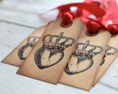 Vintage Inspired Tags - Heart with Crown  -  Set of 5 - You choose ribbon color