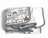 Minky Baby blanket - Stroller blanket- Princess Castle- Nursery blanket- baby crib bedding- modern baby bedding