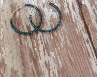 Denim Blue Beaded Hoops | Beaded Hoop Earrings | Silver Beaded Hoops | Hoop Earrings