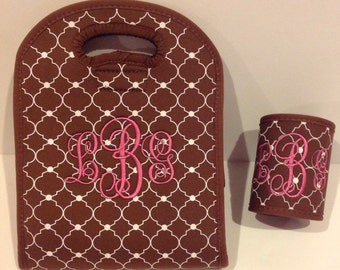 Monogrammed Personalized brown and White neoprene insulated lunch tote & OPTIONAL matching can holder