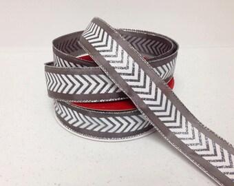 "Grey Chevron Wired Ribbon - 1.5""x10 yards"