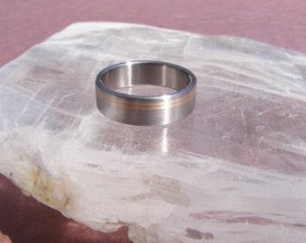 Titanium Offset Golden Equinox 18k Ring Wedding Band