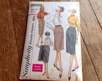 "Vintage Simplicity 3659 Wrap Front or Back Slim Skirt Sewing Pattern 26"" Waist"