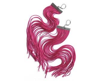 Fuchsia Long Fringe Earrings / Magenta Large Statement Earrings / Pink Shoulder Dusters / Raspberry Dangle Earrings