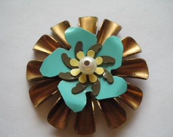 Brass and Blue Metal Flower