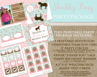 Shabby Pony Printable Party Package - Shabby Floral Blue, Pink, Lace and Burlap - Cowgirl Western Party