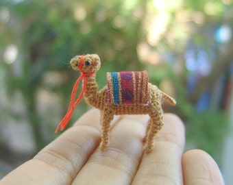 1inch crochet miniature camel - tiny amigurumi - dollhouse decorative stuffed animal