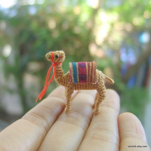 1inch crochet miniature camel tiny amigurumi dollhouse