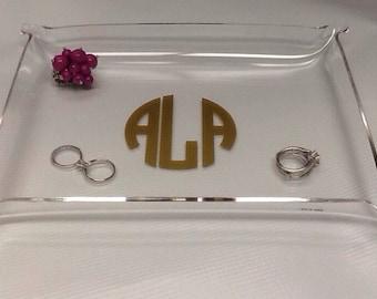 Monogram Jewelry Dish - Ring Holder - Acrylic Tray