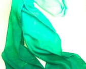 hand dyed silk  scarf  ...  ombre effect in emerald green