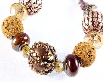 Copper and Bronze Chunky Mixed Beads Bracelet