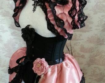 Vintage Pink Costume .  Burlesque  Bustle Skirt  ansd Shrug SET Lolita Free Flower Pin. Ready to ship!